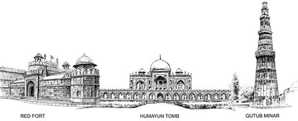 Line Drawing Of Qutub Minar : Art